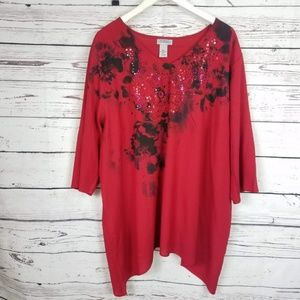 MAGGIE BARNES for CATHERINE'S Blouse Red Size 2x